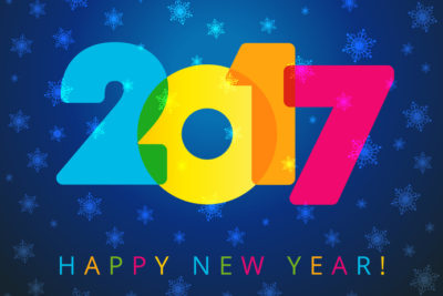 2017 new year navy blue card. Happy holidays card with snow flakes, color figures 2017 and happy new year text